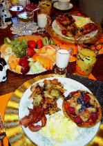 Breakfast includes  fresh fruit, juice, coffee, French crepes, grilled herbal potatoes, fried ham or bacon, eggs, and  other European or American specialties.There are no processed foods in my preparations.All of my food is made from scratch using organic ingredients.