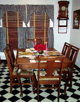 This very large kitchen has its own private dining area for your breakfast. It is one of the four dining areas that you are able to choose. This table seats up to six.