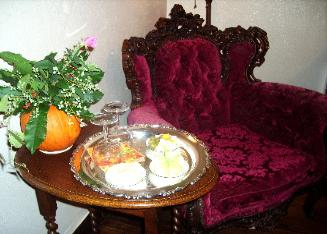 The cozy corner of the Guest Room. Enjoy sitting in our vintage Rococo chair with a glass of wine and hors d'oeuvre