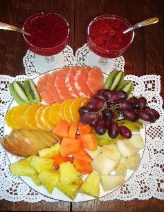 Breakfast includesfresh fruit, juice, coffee from Germany, stuffed French crepes, grilled herbal potatoes, fried ham or bacon, eggs,homemade organic jams and  other European or American specialties.There are no processed foods in my preparations.All of my food is made from scratch using organic ingredients.